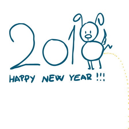 Happy Chinese New Year design, cute dog peeing - vector illustration sketch Illustration