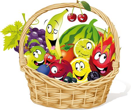 Mand vol fruit karakter cartoon - vectorillustratie Stock Illustratie