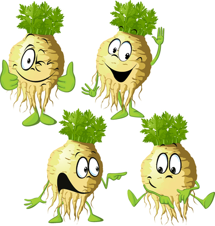 Celery cartoon with face and hand gesture - vector illustration Illustration