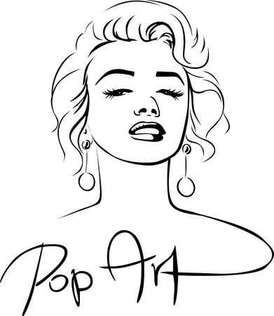 Marilyn Sketch Pop Art Design - illustrazione vettoriale
