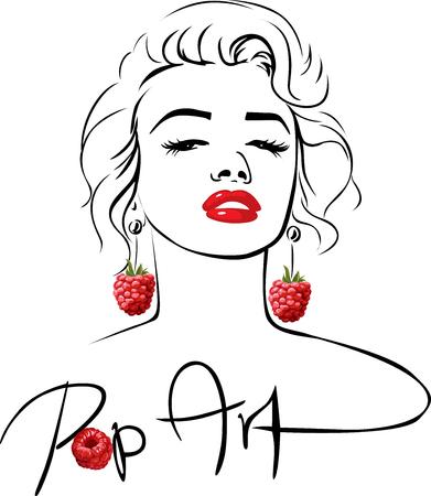 Marilyn - Pop Art Design with sweet raspberry earring
