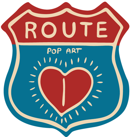 Route Pop Art Sign Design - vector illustration Ilustrace