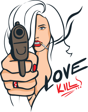 Sexy Woman with a Gun Pointing Straight at You - Love Kills - Popart Vector Illustration Vettoriali