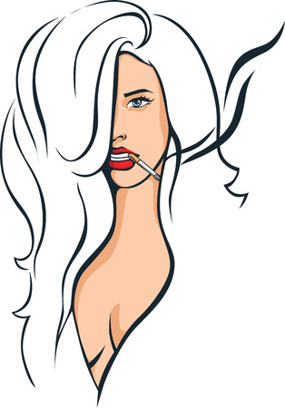 femme fumer illustration - dessin vectoriel