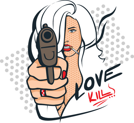 Sexy woman with gun and cigarettes - pop art design vector illustration