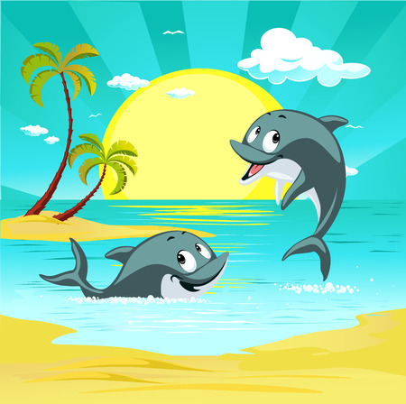 Tropical holiday destination landscape with cute dolphin character playing vector illustration