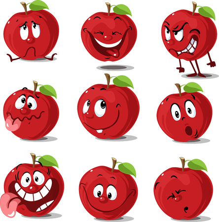 Apple set  flat design cute cartoon  vector illustration character isolated