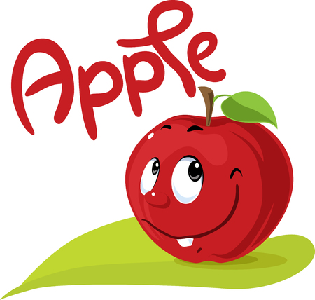 Apple character flat design with text and leaf symbol