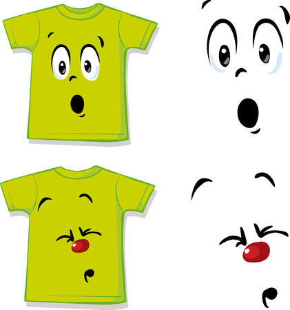 Shirt with funny face expression - vector illustration