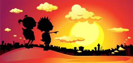 banner winter town landscape sunrise back to school - vector flat design illustration