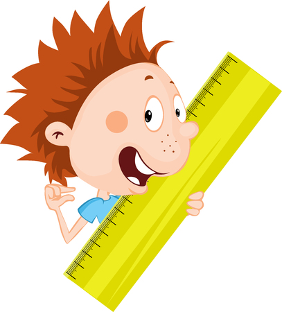 Little child, student - boy peeks out from the ruler shows how much he measured on the ruler - illustration flat design isolated on white background