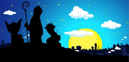 Saint Nicholas, Devil and Angel Silhouette Banner Townscape Vector Illustration