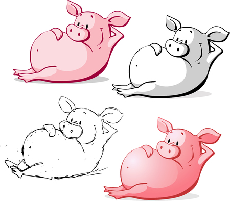 Cute Ping Pig Cartoon Vector Illustration Isolated on White Illustration