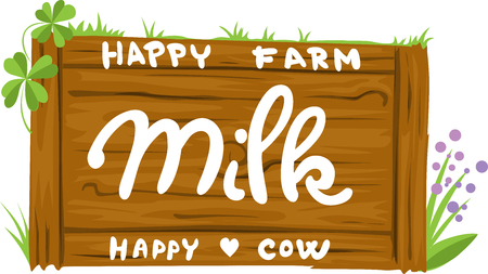 Wooden Sign With The Inscription Dairy Farm - Vector Illustration