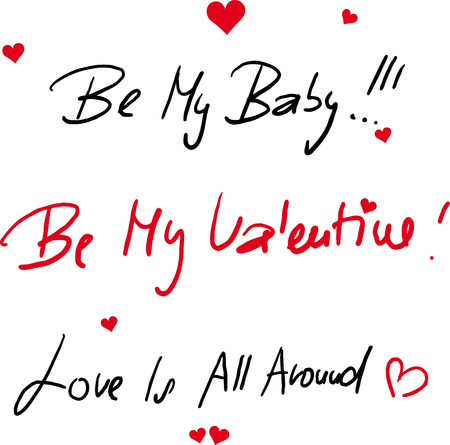 Valentines Day Text Free Hand - Vector Illustration
