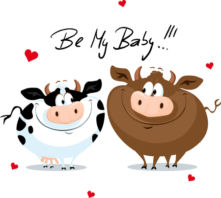 Cute Cow in Love Valentines Day Vector Cartoon Illustration
