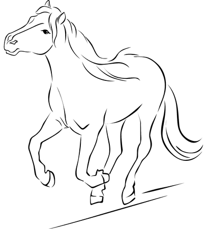 Horse  Black Sketch Running