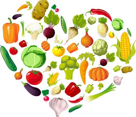 Health Love Heart Made of Vegetable - Vector Illustration
