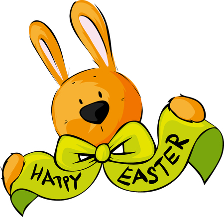 Happy Easter Wish Bow Bunny Vector Illustration
