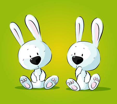 White Bunnies Twins Vector Illustration