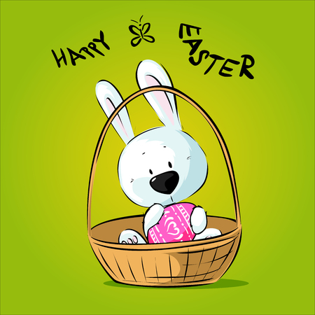 White Easter Bunny Hold Egg Sitting in Basket - Happy Easter Vector Illustration