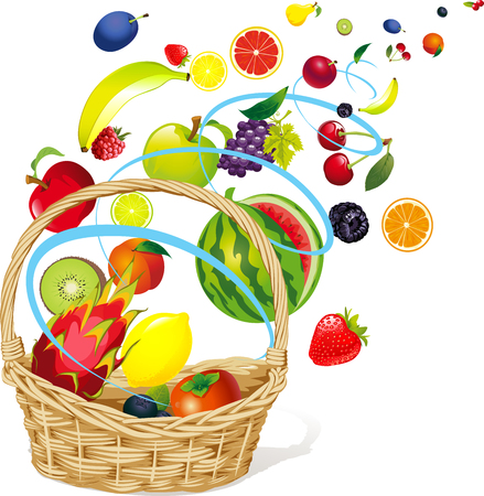 Fruits floating in a Abstract Windy Whirlpool and Basket