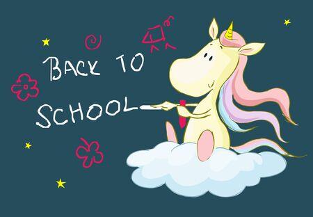 Back to school with cute unicorn cartoon Illustration