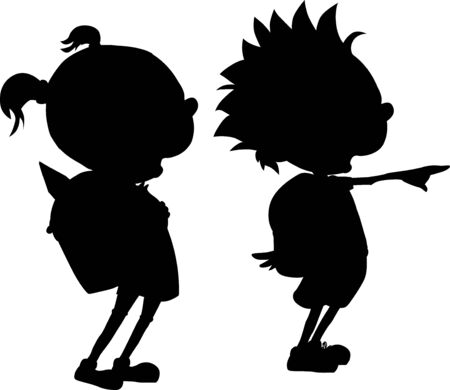 Back to School - Boy and Girl Student Silhouette - Vector Illustration Illustration