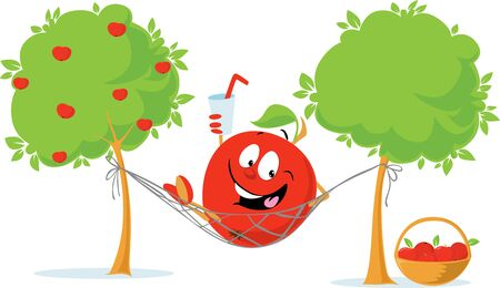 Apple cartoon Character Lying in Hammock Drink Cider after Autumn Apple Harvest Illustration