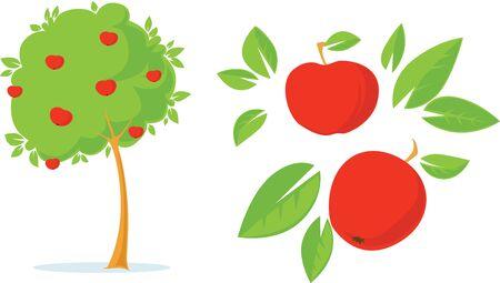 Apple Tree - Flat Design Illustration With Apple, Leaves And Tree Illustration