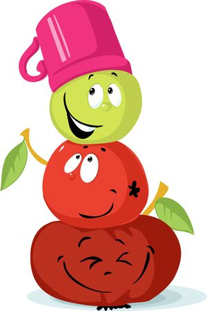 Apple Snowman Character Cute fruit Cartoon - Snowman Built from Apples - Vector Illustration Illustration