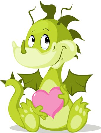 Cute Dragon Character Hold pink Heart - Vector illustration