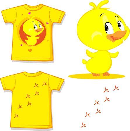 Funny Chicken Character Cartoon  Shirt Design- Vector Illustration Illustration