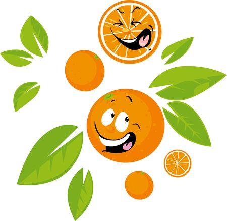 Orange funny Cartoon with Face - Flat Design Illustration