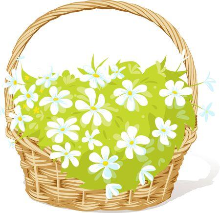 Spring Basket Full of White Flowers