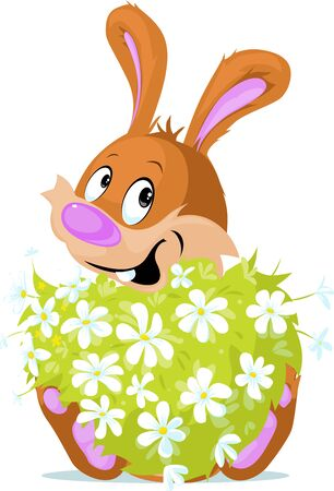 Cute Bunny Hold Bouquet of Spring Flowers Illustration