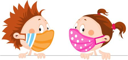 Children with Respirator Mask Peeking Out - Protection Against Viral Infection Illustration