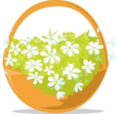 Spring Easter Basket Full of Flowers Illustration