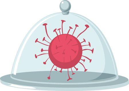 Virus Under a Glass Lid - Vector Illustration