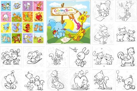 Coloring Book -  Cute Animals Collection - Vector Illustration