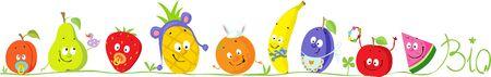 Cute Bio Fruit Cartoon for Babies Standing in Raw - Vector Illustration
