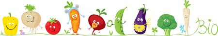 Cute Bio Vegetable Cartoon for Babies Standing in Raw - Vector Illustration