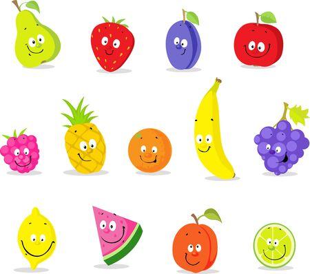 Fruit Cartoon Collection - Cute Cute Vector Illustration Flat Design Icon
