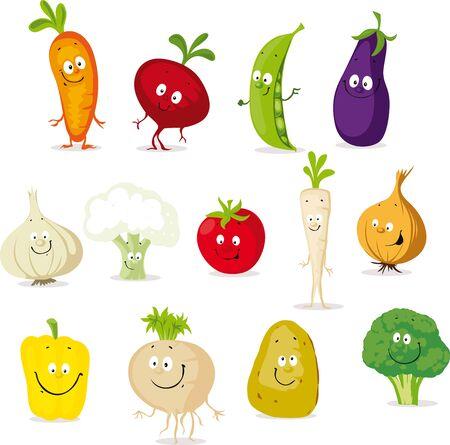 Vegetable Cartoon Collection - Cute Cute Vector Illustration Flat Design Icon