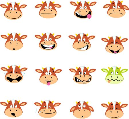 Cow Emoticon Vector Simple Illustration Many Expressions