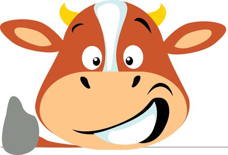 Simple Cow Icon Flat Design Emoticon Vector Illustration Thumb Up