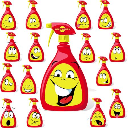 Disinfection Cartoon with Many Expressions - Anti Virus Vector Illustration