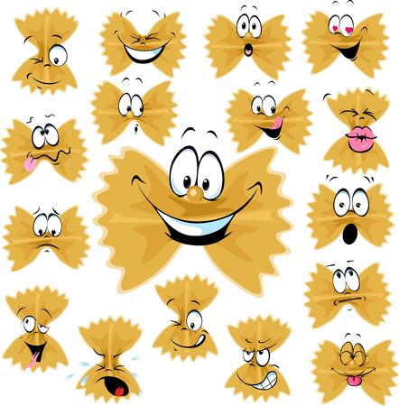 Funny Farfalle Pasta Cartoon Character with Many Facial expressions - Vector Illustration