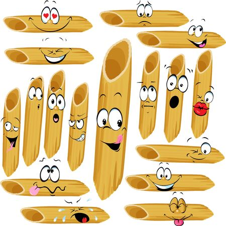 Funny Penne Pasta Cartoon Character with Many Facial expressions - Vector Illustration