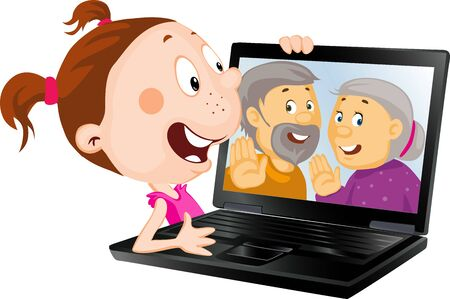 Girl video call with her Old Grandparents isolated on white Illustration